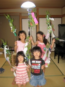students with Tanabata trees