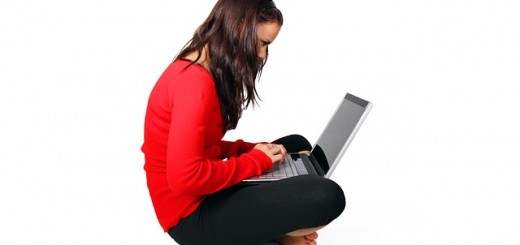 A lady using a laptop