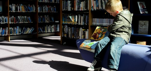 child in library
