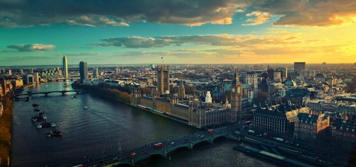 A aerial view of London, Britian