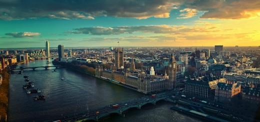 A aerial view of London, Britian